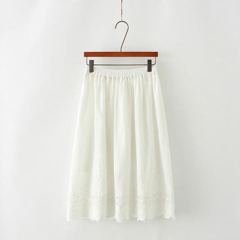 White/Blue Fresh Lace Hallow Out Skirt SP1710168