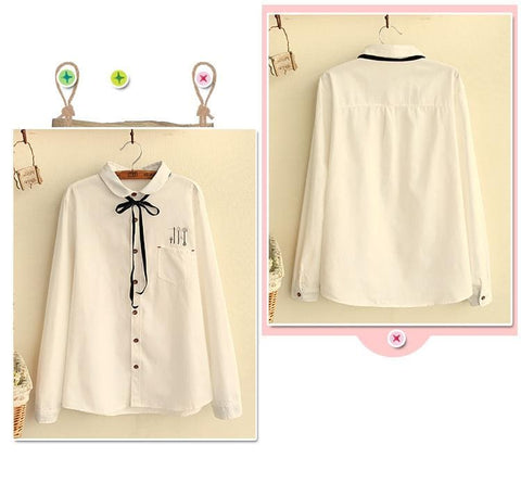 White/Blue Sweet Bowknot Shirt SP179763
