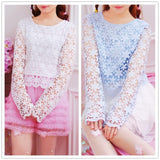 White/Blue Sweet Floral Lace Shirt SP1811833