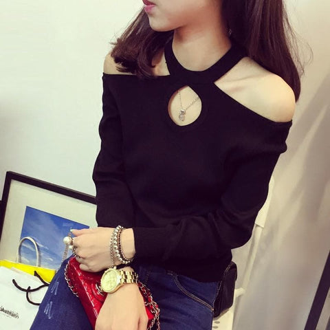White/Grey/Black Choker Long Sleeve Shirt Top SP165619