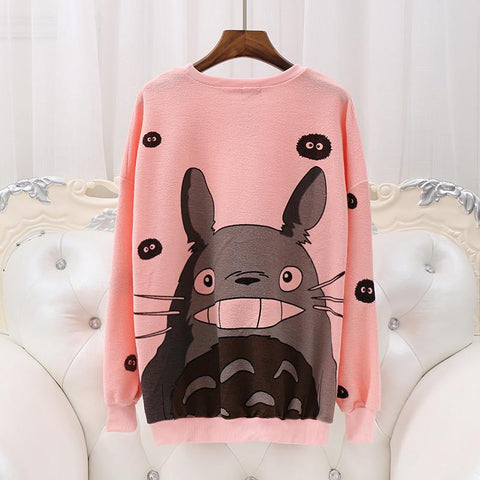 White/Grey/Pink Kawaii Totoro Printing Jumper SP168128