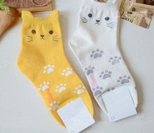 Load image into Gallery viewer, White/Grey/Yellow Neko Atsume Cute Socks SP178633