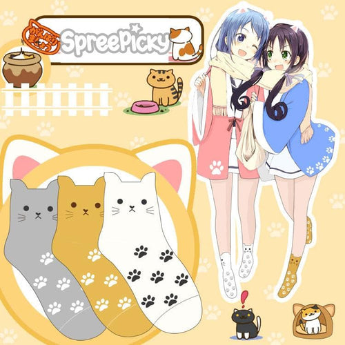 White/Grey/Yellow Neko Atsume Cute Socks SP178633