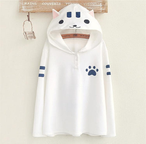 White/Grey Kawaii Cat Printing Hoodie Jumper SP168176