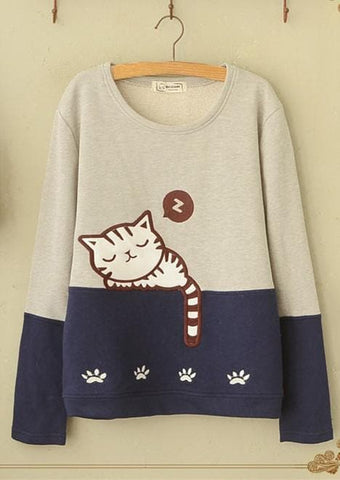 White/Grey Kawaii Cat Printing Jumper SP168175