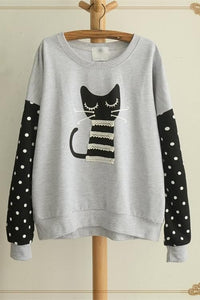 White/Grey Sleeping Kitty Sweater Jumper SP154312 - SpreePicky  - 5