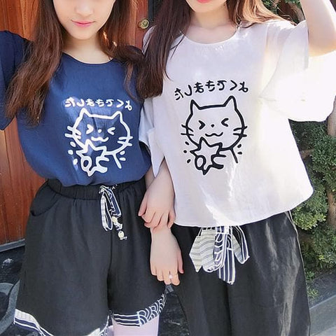 White/Navy Kawaii Cat Loose Shirt SP1710487