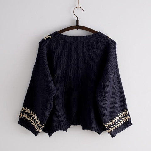 White/Navy Mori Girl Embroider Short Sleeve Fleece Sweater SP154029 - SpreePicky  - 4
