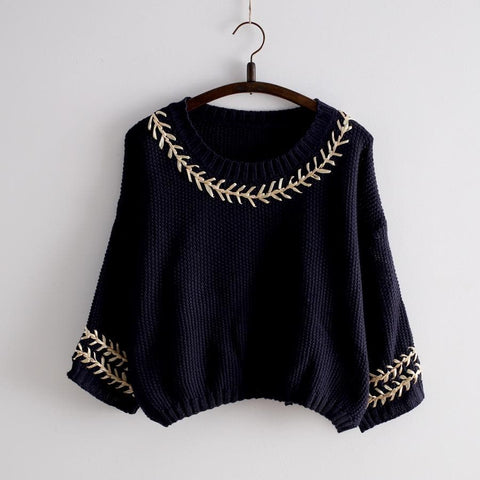 White/Navy Mori Girl Embroider Short Sleeve Fleece Sweater SP154029 - SpreePicky  - 3