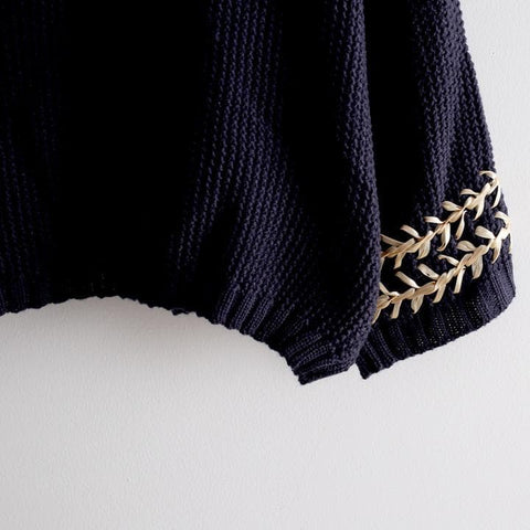 White/Navy Mori Girl Embroider Short Sleeve Fleece Sweater SP154029 - SpreePicky  - 5