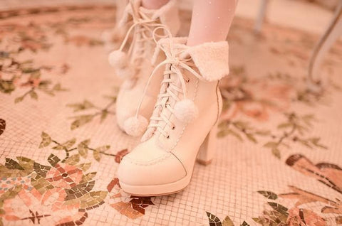 White/Pink/Apricot Fluffy Snowball Platform Heigh Heel Shoes SP154483 - SpreePicky  - 6