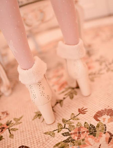 White/Pink/Apricot Fluffy Snowball Platform Heigh Heel Shoes SP154483 - SpreePicky  - 7