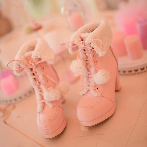 White/Pink/Apricot Fluffy Snowball Platform Heigh Heel Shoes SP154483 - SpreePicky  - 3