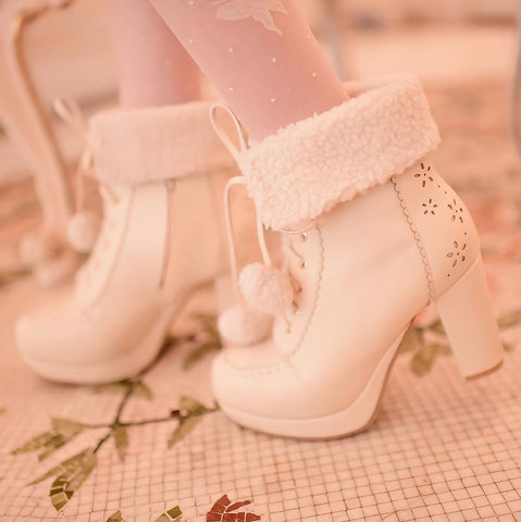 White/Pink/Apricot Fluffy Snowball Platform Heigh Heel Shoes SP154483 - SpreePicky  - 8