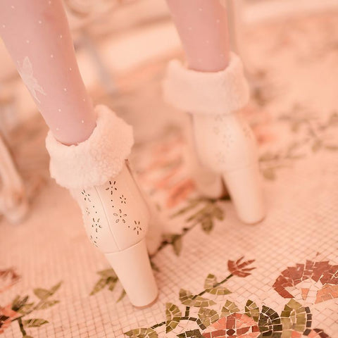 White/Pink/Apricot Fluffy Snowball Platform Heigh Heel Shoes SP154483 - SpreePicky  - 9