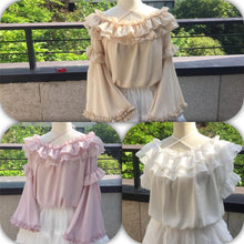 Load image into Gallery viewer, White/Pink/Beige Pastel Ruffled Detachable Sleeve Top SP1710619