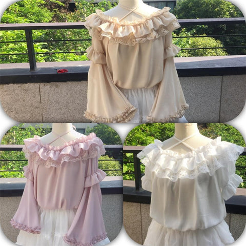 White/Pink/Beige Pastel Ruffled Detachable Sleeve Top SP1710619