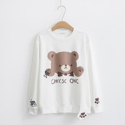 White/Pink/Black Kawaii Bear Sweatshirt SP1811987