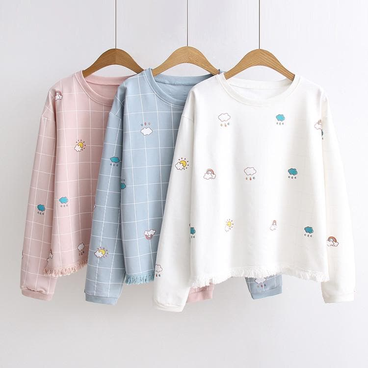 White/Pink/Blue Kawaii Pastel Weather Sweater SP179023