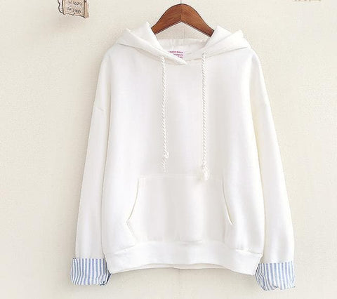 White/Pink/Blue Pure Color Pullover Hoodie SP168241