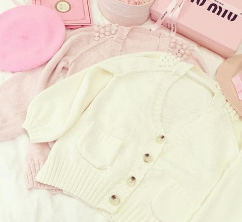 White/Pink/Blue Sweet Knitted Coat SP164881 - SpreePicky  - 3