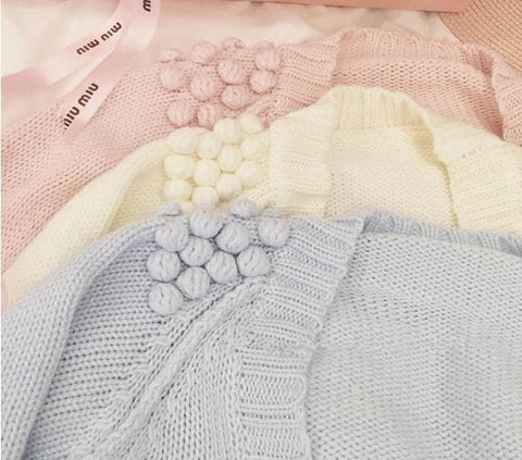 White/Pink/Blue Sweet Knitted Coat SP164881 - SpreePicky  - 4