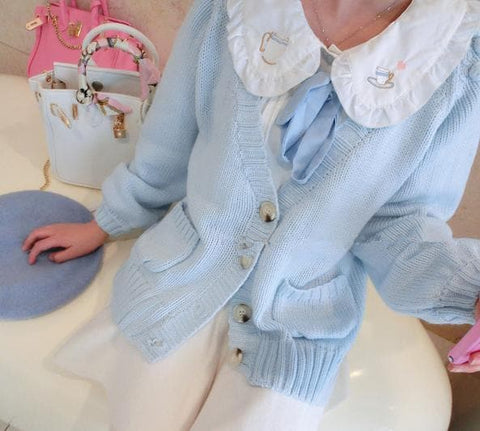White/Pink/Blue Sweet Knitted Coat SP164881 - SpreePicky  - 7