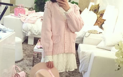 White/Pink/Blue Sweet Knitted Coat SP164881 - SpreePicky  - 6