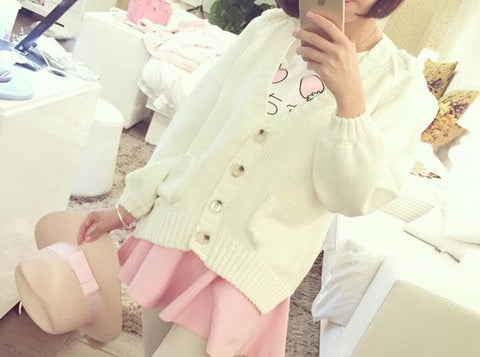 White/Pink/Blue Sweet Knitted Coat SP164881