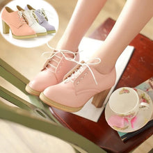 Load image into Gallery viewer, White/Pink/Purple Preppy Style High Heel Shoes SP168428