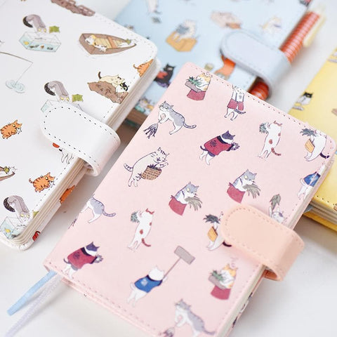 White/Pink/Yellow/Blue Kawaii Cat Faux Leather Diary Notebook SP1710483