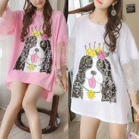 White/Pink Cute Dog Midi Shirt SP1812529