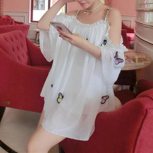 White/Pink Fairy Butterfly Chiffon Shirt SP1812320