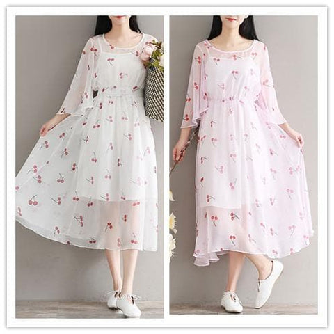 White/Pink Fairy Cherry Chiffon Dress SP1812124