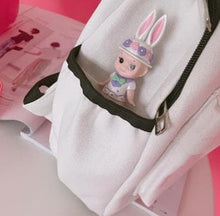 Load image into Gallery viewer, White/Pink Kawaii Kitty/Bunny Canvas Backpack SP1812089