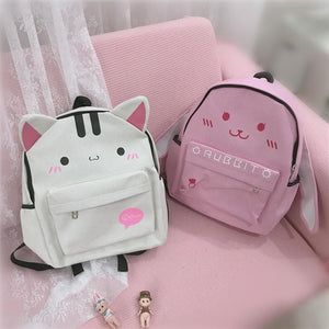 White/Pink Kawaii Kitty/Bunny Canvas Backpack SP1812089
