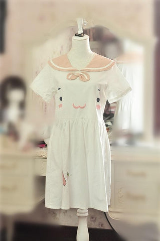 White/Pink Kawaii Sailor Style Short Sleeve Dress SP167022