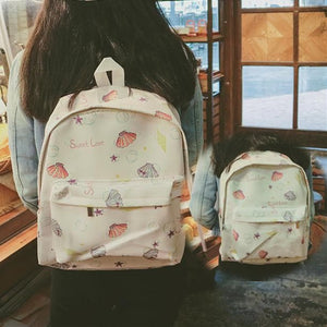 White/Pink Leisure Shell Pattern Backpack SP166822
