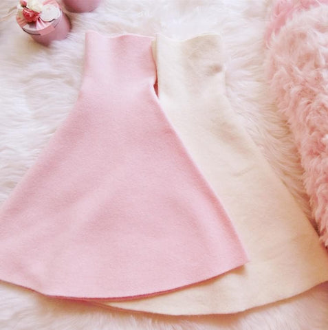 White/Pink Sweet High Waist Soft Plush Skirt SP164879 - SpreePicky  - 3