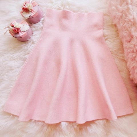 White/Pink Sweet High Waist Soft Plush Skirt SP164879 - SpreePicky  - 4