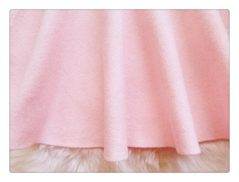 White/Pink Sweet High Waist Soft Plush Skirt SP164879 - SpreePicky  - 7