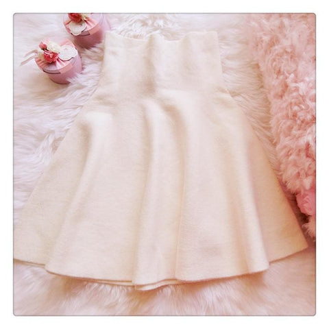 White/Pink Sweet High Waist Soft Plush Skirt SP164879 - SpreePicky  - 5