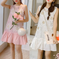 White/Pink Sweet Sleeveless Falbala Flower Dress SP1812530