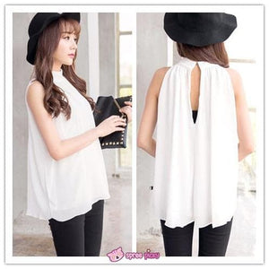 3 Colors Chiffon Sleeveless Halt Top SP151947 - SpreePicky  - 2