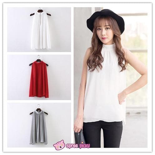 3 Colors Chiffon Sleeveless Halt Top SP151947 - SpreePicky  - 1
