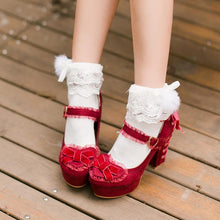 Load image into Gallery viewer, White/Red/Pink Sweet Bowknot High Heel Shoes SP168561