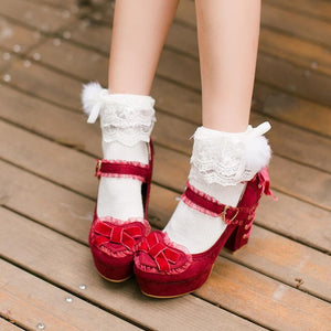 White/Red/Pink Sweet Bowknot High Heel Shoes SP168561