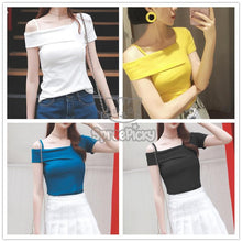 Load image into Gallery viewer, White/Yellow/Black/Blue Off-Shoulder Strap T-Shirt SP179455