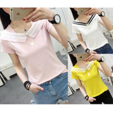White/Yellow/Pink Preppy Style Stripe T-Shirt SP179454
