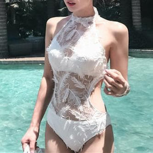 White Backless Feather One-Piece Swimsuit SP1812065